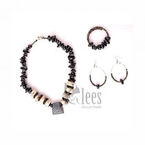 KUKII 3pc set (necklace+ Bracelet+earrings-made from recycled bones, stones (non-precious) and coconut shell ceramic beads)