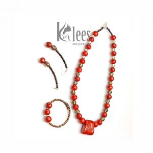 SHOKOE 3pc set(necklace+ Bracelet+earrings-made from ceramic beads + recycled glass