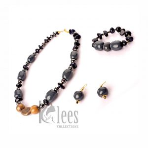 WINGU- 3pc set(necklace+ Bracelet+earrings-made from ceramic beads and non-precious stone beads )